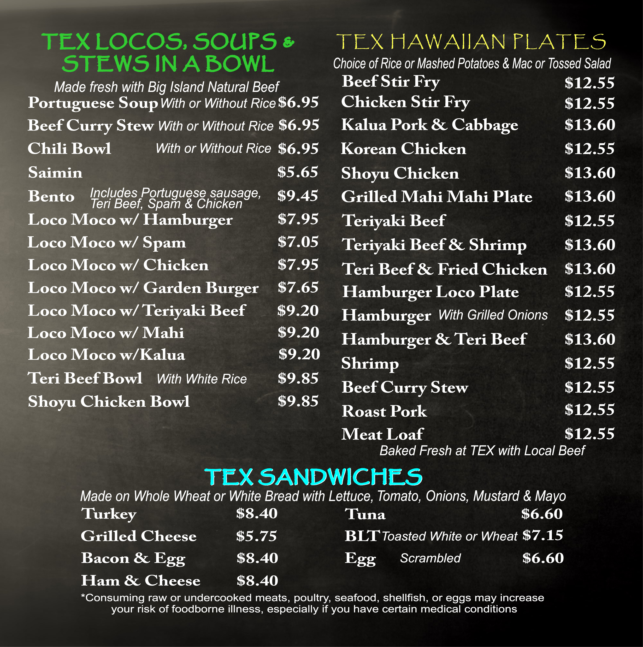 menu tex drive in